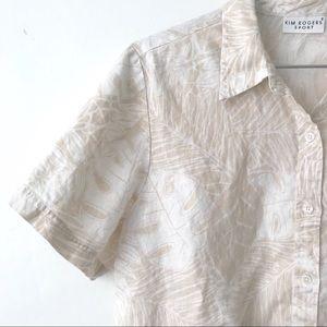 Vintage • 100% Linen Cream Monstera Button Down